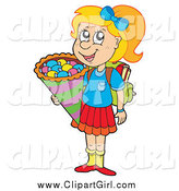 Clip Art of a Happy Blond White Girl on Her Way to School for the First Time by Visekart