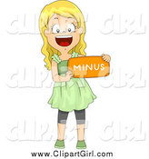Clip Art of a Happy Blond White School Girl Holding a Minus Math Symbol by BNP Design Studio