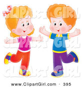 Clip Art of a Happy Boy and Girl Dancing with Their Arms OutHappy Boy and Girl Dancing on One Leg with Their Arms out by Alex Bannykh
