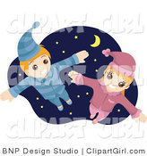 Clip Art of a Happy Boy and Girl Flying in Their Pajamas Against a Starry Nighttime Sky by BNP Design Studio
