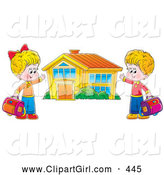 Clip Art of a Happy Boy and Girl Holding Their Bags and Presenting Their School Building by Alex Bannykh