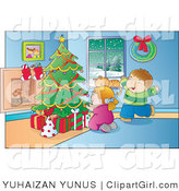 Clip Art of a Happy Boy and Girl Ready to Open Their Christmas Presents on a Winter Day by YUHAIZAN YUNUS