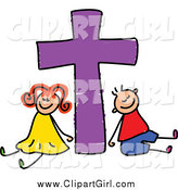 Clip Art of a Happy Boy and Girl with a Purple Cross by Prawny