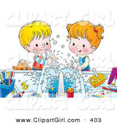 Clip Art of a Happy Brother and Sister Making a Mess While Washing Their Hands with Soap, a Cat Peeking over the Counter by Alex Bannykh