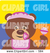 Clip Art of a Happy Brown Bear Baby Girl Character by Dennis Holmes Designs