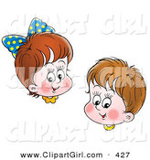 Clip Art of a Happy Brunette Brother and Sister Smiling Together by Alex Bannykh