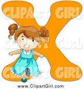 Clip Art of a Happy Brunette Caucasian Girl Leaning Back Against an Orange Letter X by BNP Design Studio