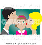 Clip Art of a Happy Brunette Girl Smiling As Her Blond Mother and Dark Haired Father Kiss Her on the Cheek by Maria Bell