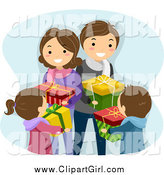 Clip Art of a Happy Caucasian Family Exchanging Christmas Gifts by BNP Design Studio