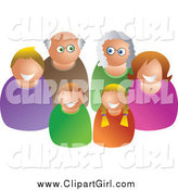 Clip Art of a Happy Caucasian Family of Three Generations by Prawny