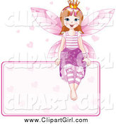 Clip Art of a Happy Fairy Princess Sitting on a Blank Sign with Hearts by Pushkin