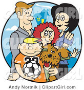 Clip Art of a Happy Family of Four with Their Dog and a Soccer Ball by Andy Nortnik