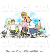 Clip Art of a Happy Family of Six Feeding Pigeons by Djart