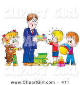 Clip Art of a Happy Father Giving Toys and Gifts to His Children by Alex Bannykh