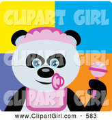 Clip Art of a Happy Giant Panda Baby Girl Bear Character by Dennis Holmes Designs