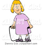 Clip Art of a Happy Girl in a Pink Dress with a Jump Rope by Djart
