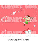 Clip Art of a Happy Girl Swinging over a Gift with a Happy Holidays Greeting on Pink by BNP Design Studio