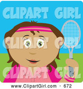 Clip Art of a Happy Hispanic Girl Holding a Tennis Racket by Dennis Holmes Designs