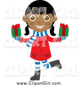 Clip Art of a Happy Indian Christmas Girl Holding Presents by Rosie Piter