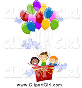 June 6th, 2015: Clip Art of a Happy Kids in a Hot Air Balloon by BNP Design Studio