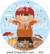 Clip Art of a Happy Little Caucasian Boy Wearing a Coat, Smiling and Holding His Arms out While Autumn Leaves Fall down from the Trees and Standing by a Pumpkin on a Breezy Fall Day by Vitmary Rodriguez