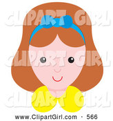 Clip Art of a Happy Little Girl Wearing a Blue Ribbon in Her Hair by Alex Bannykh