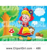 Clip Art of a Happy Little Smiling Girl, Red Riding Hood, Picking Mushrooms near the Forest by Alex Bannykh