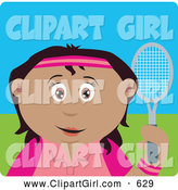 Clip Art of a Happy Mexican Girl Holding a Tennis Racket by Dennis Holmes Designs