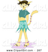 Clip Art of a Happy Part Cat, Part Human Girl with a Tail and Cat Ears by