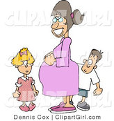 Clip Art of a Happy Pregnant Mother Standing with Her Daughter and Son, Who Are Looking at Her Belly by Djart