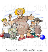 Clip Art of a Happy Preschool Teacher Woman Standing with Children at a Daycare by Djart
