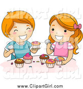 Clip Art of a Happy Red Haired White Boy and Girl Icing Cupcakes by BNP Design Studio