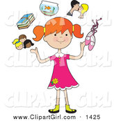 September 13th, 2015: Clip Art of a Happy Red Haired White Girl Juggling Her Friends, School Books, Goldfish, Parents and Ballet Slippers by Maria Bell