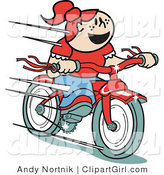 Clip Art of a Happy Red Headed Girl Speeding Downhill on Her Brand New Red Bike by Andy Nortnik