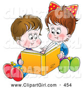 Clip Art of a Happy Sister and Brother Sitting on the Ground and Reading a Book Together by Alex Bannykh