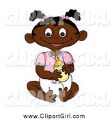 Clip Art of a Happy Sitting Black Baby Girl Holding a Bottle by Pams Clipart