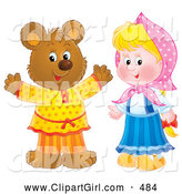 Clip Art of a Happy Smiling Bear in Clothes, Standing by a Little Blond Girl by Alex Bannykh