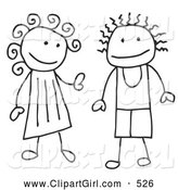 Clip Art of a Happy Stick Figure Boy and Girl by C Charley-Franzwa