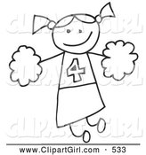 Clip Art of a Happy Stick Figure Cheerleader Girl Holding Pom Poms by C Charley-Franzwa