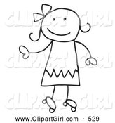 Clip Art of a Happy Stick Figure Girl Roller Skating by C Charley-Franzwa