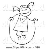 Clip Art of a Happy Stick Figure Girl with Her Hair in Pig Tails, Jumping Rope by C Charley-Franzwa