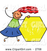 Clip Art of a Happy Stick Girl Holding a Yellow Hexagon by Prawny