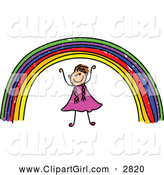 Clip Art of a Happy Stick Girl Under a Rainbow by Prawny