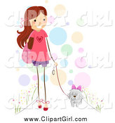Clip Art of a Happy Stick Girl Walking Her Dog by BNP Design Studio