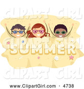 Clip Art of a Happy Stick Kids Buried in Summer Sand by BNP Design Studio