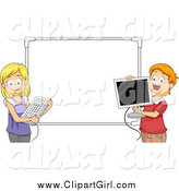 Clip Art of a Happy Students Holding a Computer Keyboard and Monitor Against a White Board by BNP Design Studio