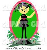 Clip Art of a Happy Tan Girl with Black Hair, Standing on a Hill and Waving with Christmas Trees and Candy Canes in the Background by