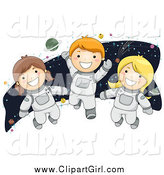 Clip Art of a Happy White Children Astronauts by BNP Design Studio