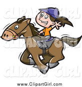 Clip Art of a Happy White Girl Riding a Horse by Jtoons