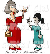 Clip Art of a Hearing Impaired Teacher Using Sign Language to Communicate with a Student by Djart